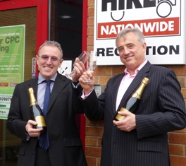 John Andrews, (left) celebrates Driver Hire's record year with Chief Executive, Chris Chidley